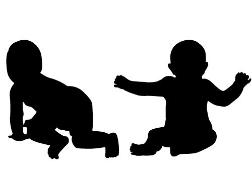 vector freeuse library Vector baby silhouette. Two free for download