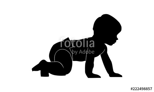 image freeuse Vector baby silhouette. The s is walking