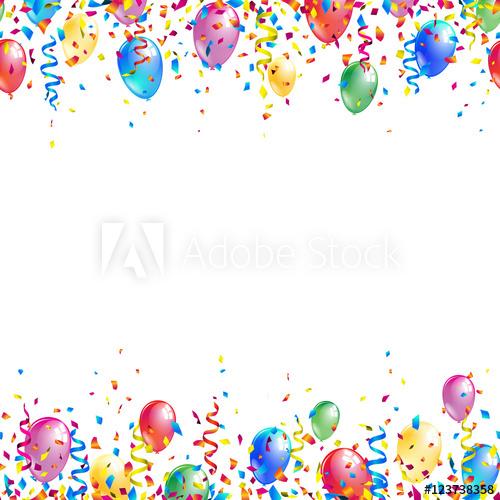 clip black and white library Bright seamless celebration borders. Vector balloon border