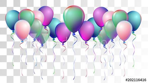 clip art royalty free library Bright realistic helium balloons. Vector balloon celebration