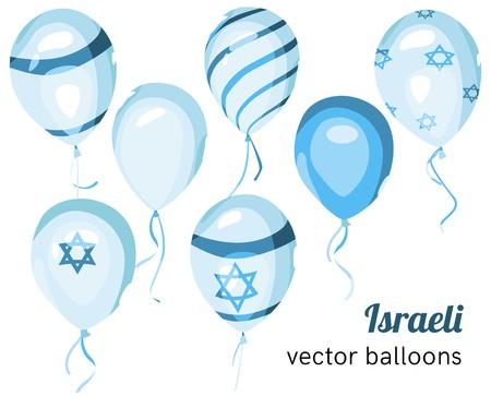 graphic transparent stock Vector balloon celebration. Set of israeli styled