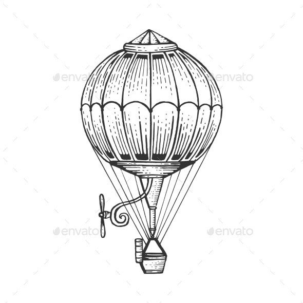 image freeuse library Air sketch engraving style. Vector balloon vintage