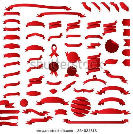vector download Vector band banner. Big red ribbon set