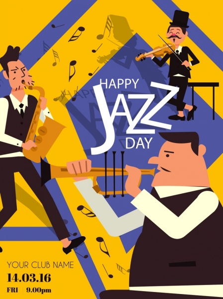 vector freeuse library Jazz festival male instruments. Vector band banner