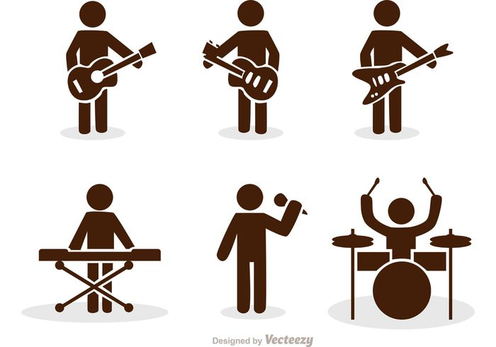 vector black and white stock Stick figure icons pack. Vector band person