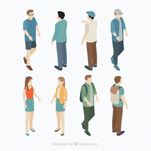 graphic black and white stock Vector band person. Collection of isometric citizen