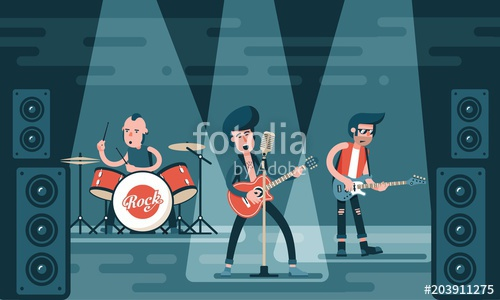 clip art library Concert of rock band. Vector bands bass guitar