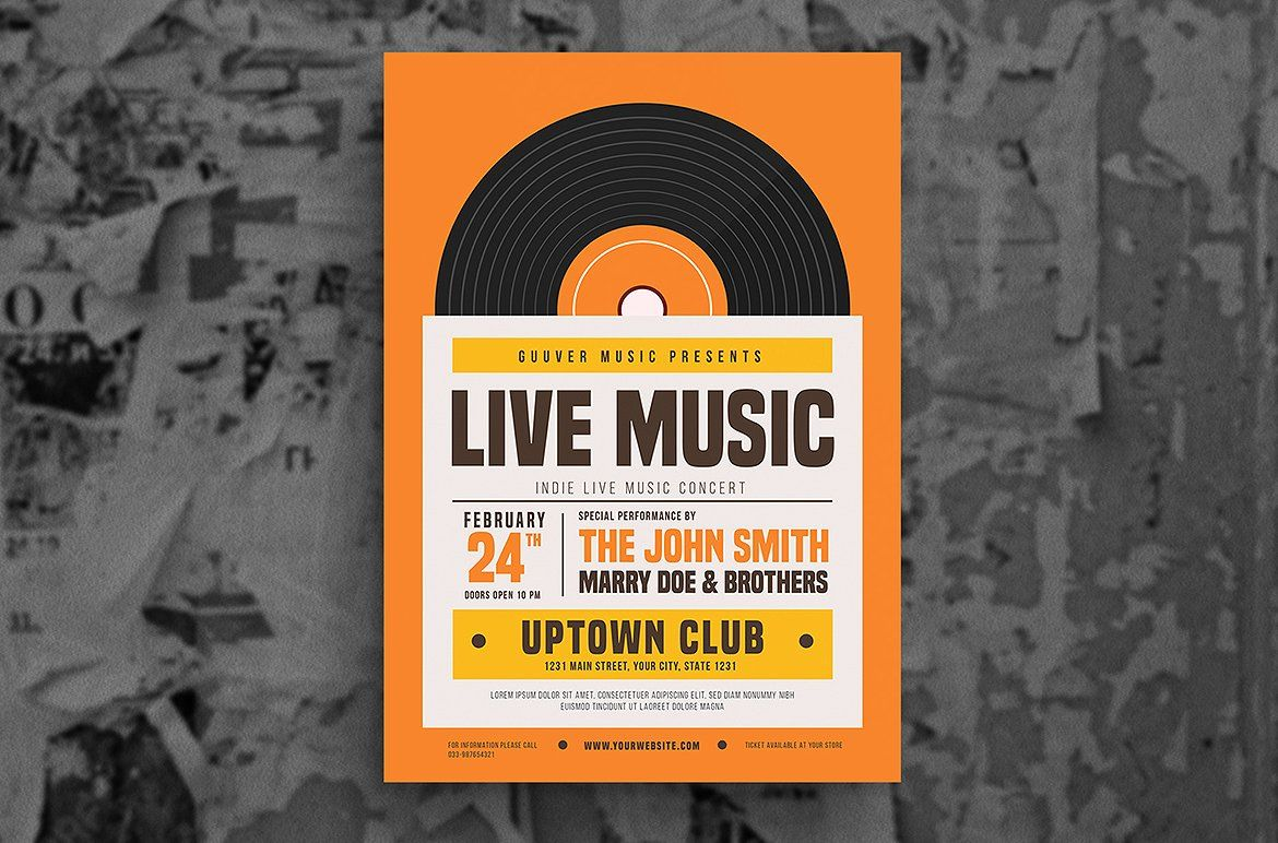 clip art royalty free stock Vector bands indie. Live music flyer bleed