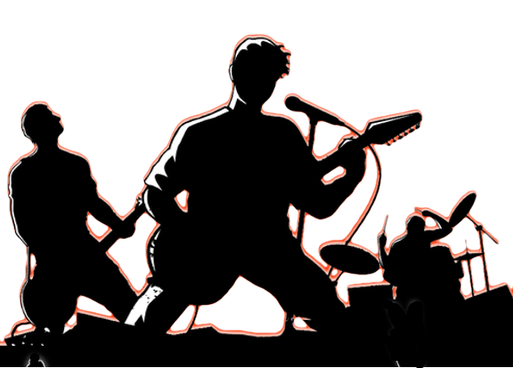 banner royalty free stock Silhouette band at getdrawings. Vector bands kids rock