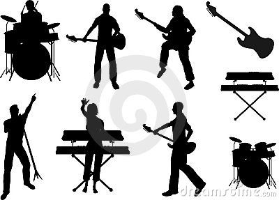 jpg royalty free download Rock band grouping print. Vector bands silhouette