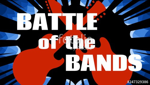 image royalty free stock Live music event promotional. Vector bands text