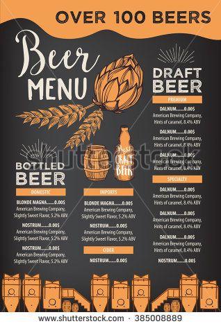 vector free Beer restaurant brochure menu. Bar vector alcohol