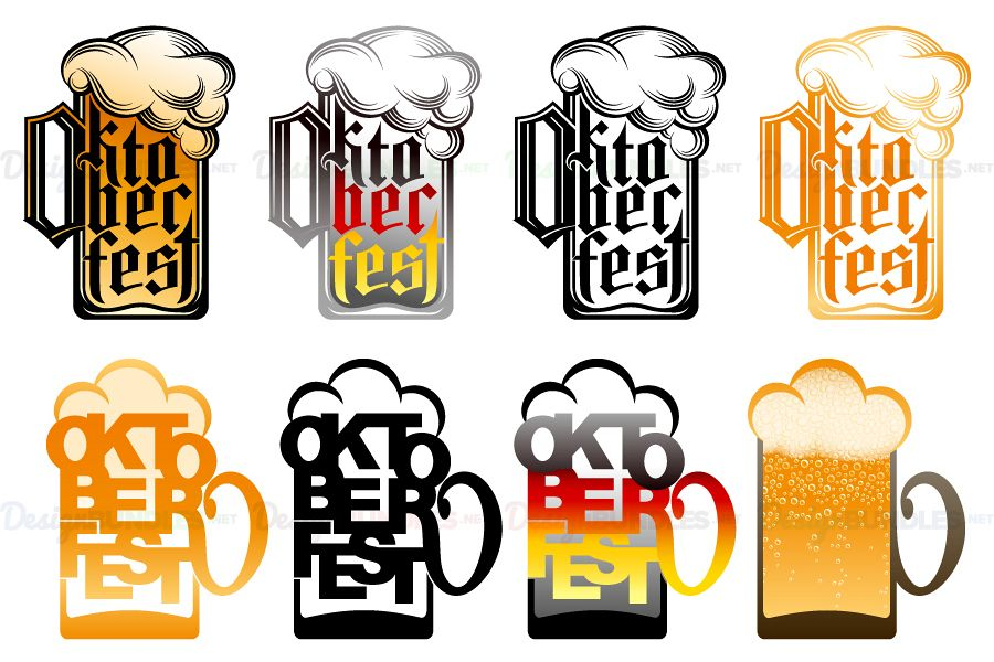 download Glass oktoberfest lettering type. Vector beer