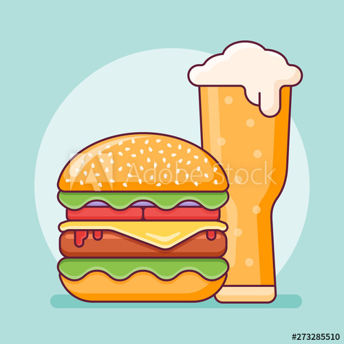 graphic transparent And glass flat line. Vector burger beer
