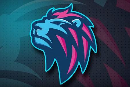 stock Vector blue illustrator. Draw a lion logo