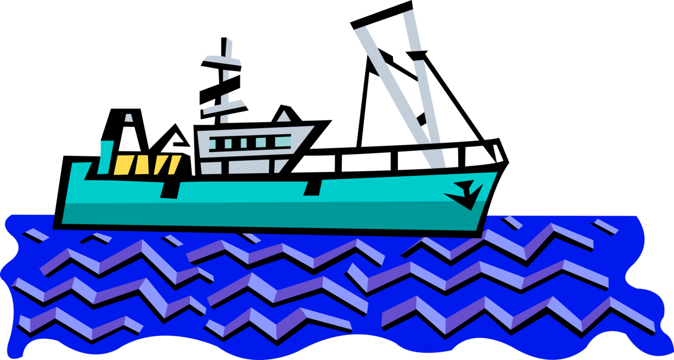 clip art black and white library Vector boat fishing trawler. Catches fish image illustration
