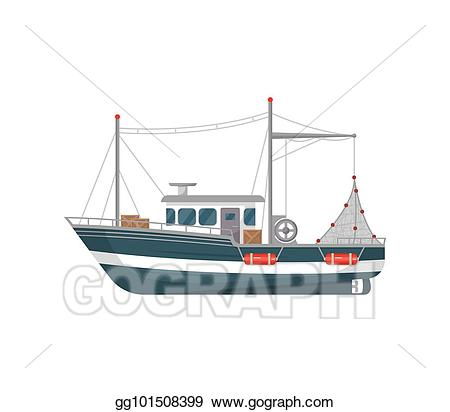 graphic library stock Art commercial side view. Vector boat fishing vessel