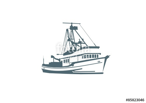 clip royalty free Vector boat fishing vessel. Stock image and royalty