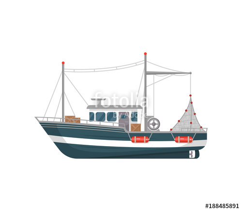 picture royalty free library Vector boat fishing vessel. Commercial side view isolated