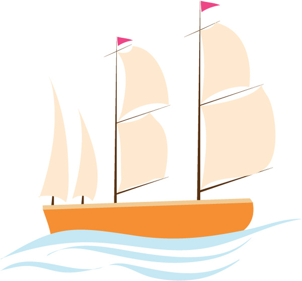 clip library library Sailing illustration with cartoon. Vector boat illustrator