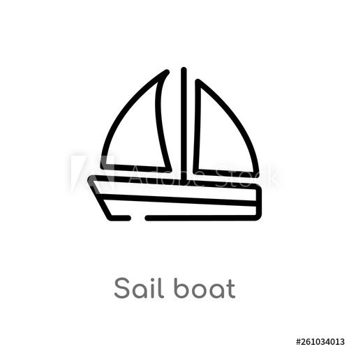 clipart Vector boat simple. Outline sail icon isolated