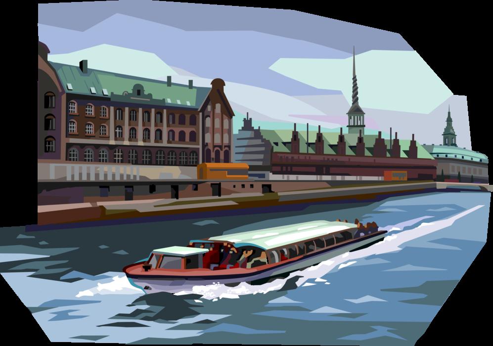 svg freeuse Vector boat tourist. Tour passes danish stock