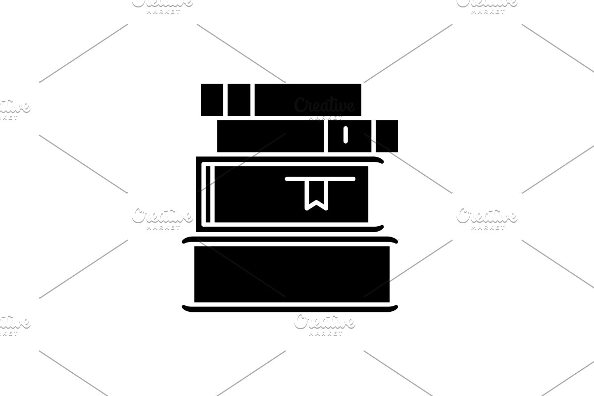image library download Vector books black. Stack of icon