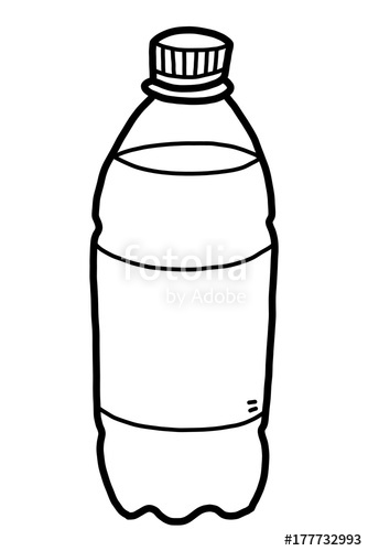 image free download Vector bottle black and white. Drinking water cartoon illustration