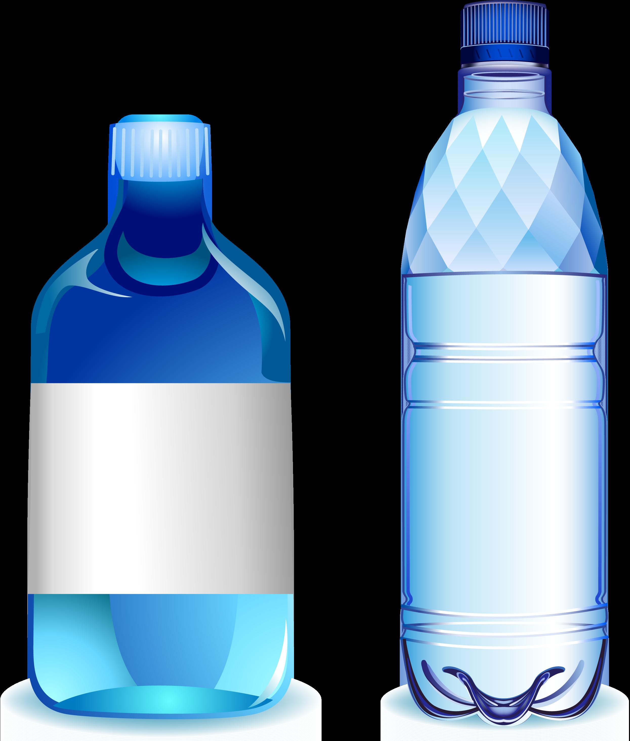 jpg black and white download Vector bottle bottled water. Plastic blue transprent png