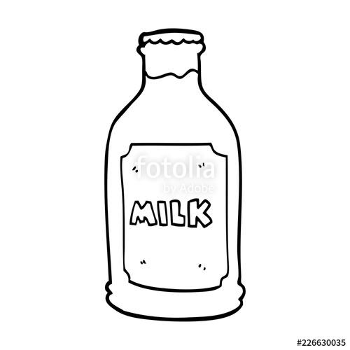 freeuse download Vector bottle line drawing. Cartoon milk stock image