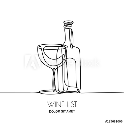 vector black and white download Continuous linear black illustration. Vector bottle line drawing
