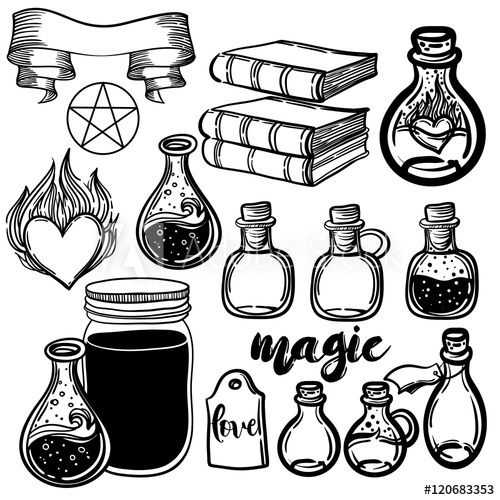 clip art black and white stock Set of glass flasks. Vector bottle science