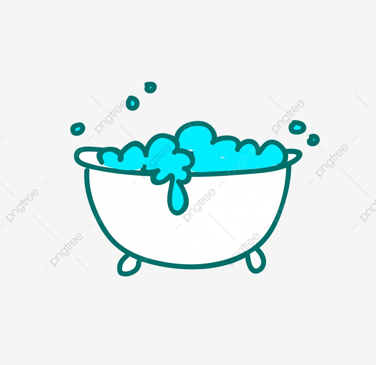 graphic free Bathtub illustration cute stick. Vector bubble bath