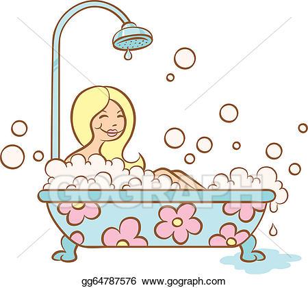 free stock Vector bubble bath. Art girl and clipart