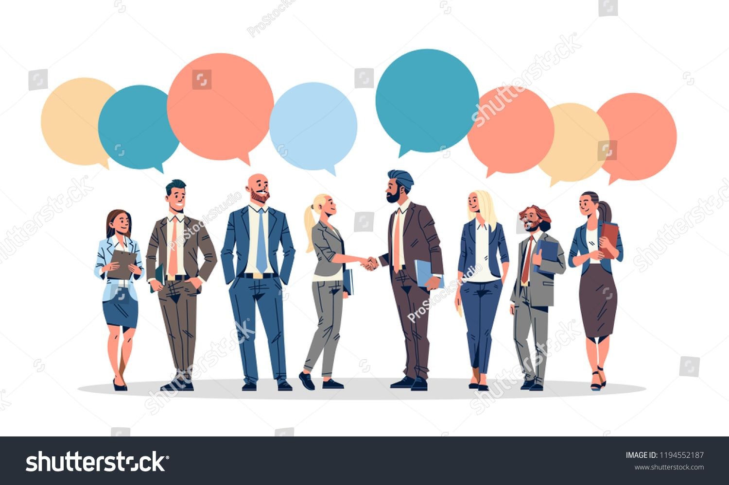 png black and white download Business people group chat. Vector bubble communication