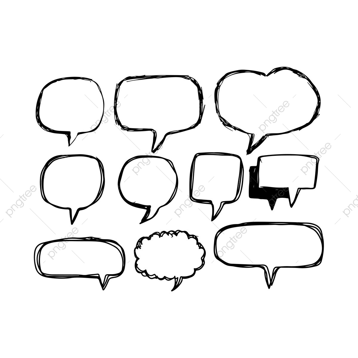 clip art royalty free library Speech icon hand drawn. Vector bubble communication