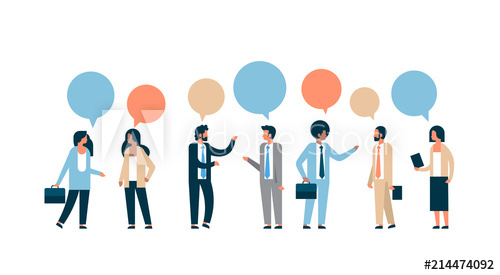 picture royalty free stock Mix race business people. Vector bubble communication