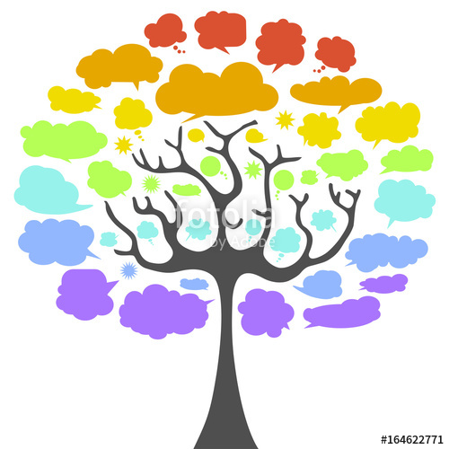 vector freeuse Vector bubble rainbow. Cloud tree colored stock