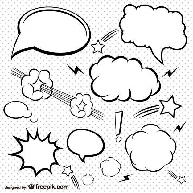 jpg library stock Comic bubbles set free. Vector bubble simple