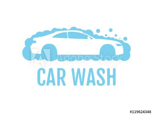 library Car wash logo flat. Vector bubble washing