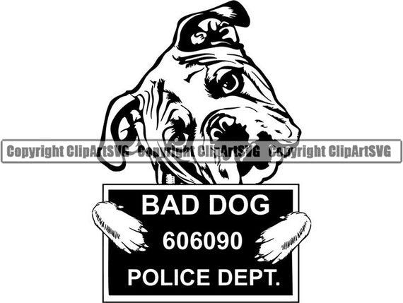 vector black and white Vector bulldog bad dog. English funny jail mugshot
