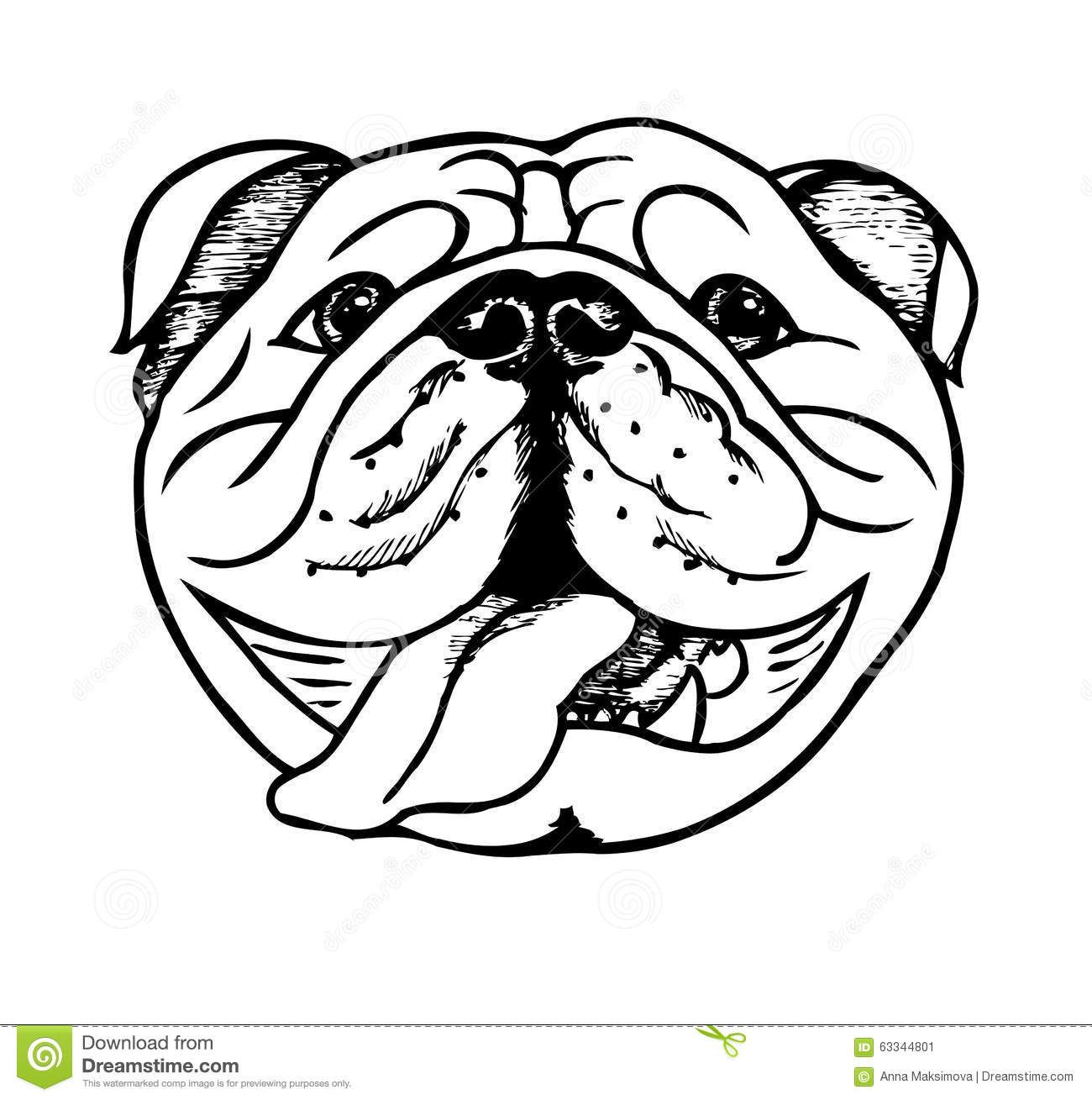 banner free download Clipart english . Vector bulldog black and white