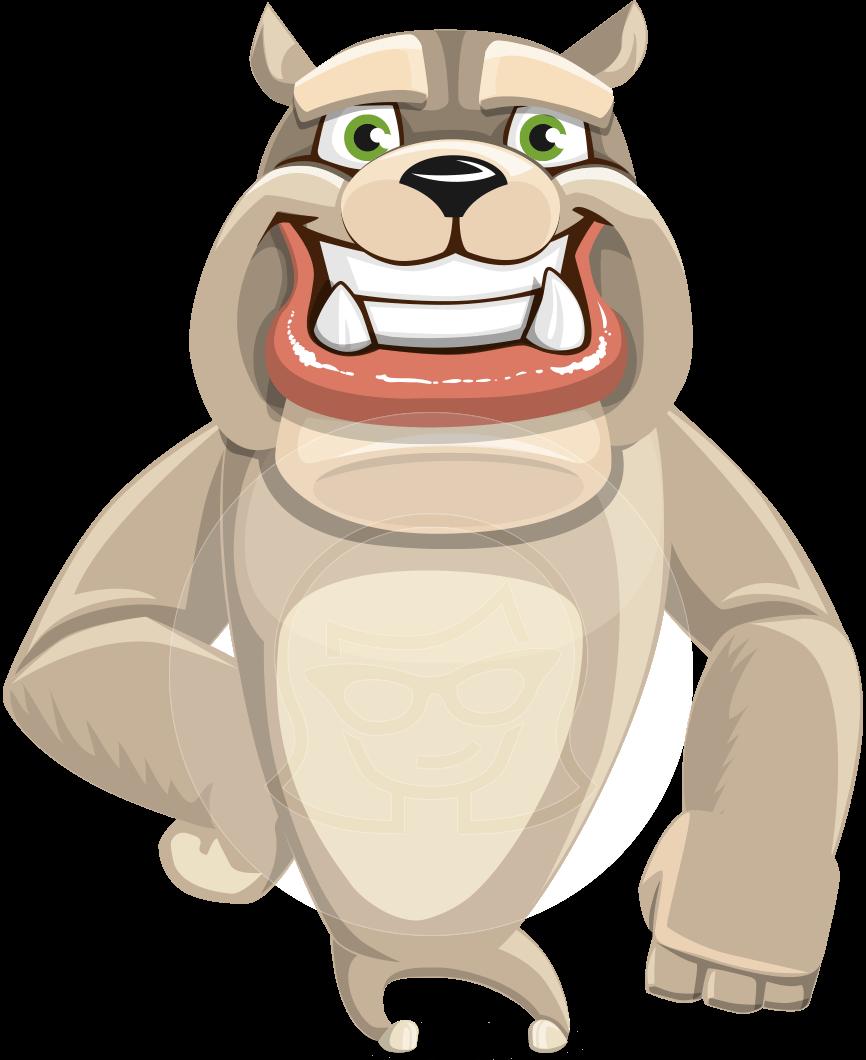 clip free stock Vector bulldog cartoon. Big dog character rocky