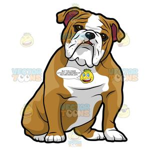 picture royalty free library English sitting with its. Vector bulldog easy cartoon