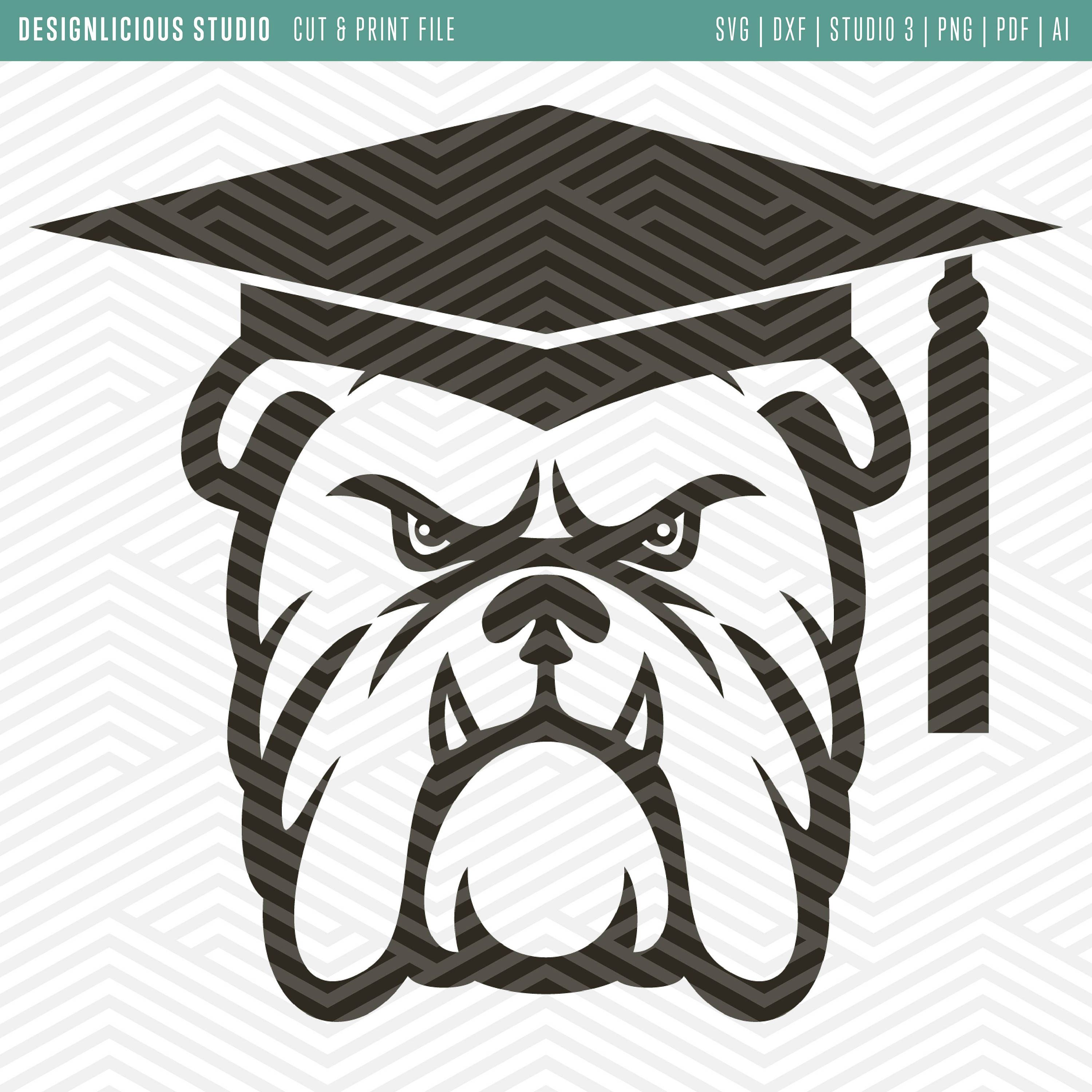 jpg library stock Cut print files thank. Vector bulldog graduation cap clipart