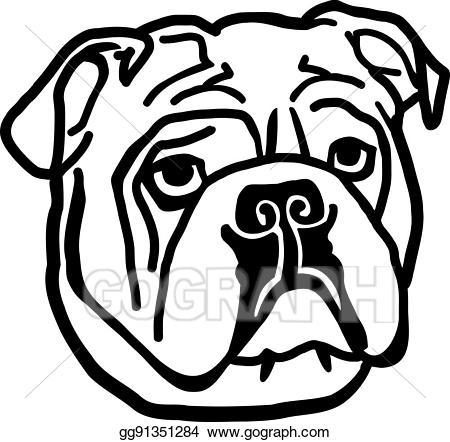 image library Vector bulldog head. Clip art stock eps