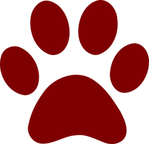 clip black and white download Vector bulldog paw print. Dark red clip art