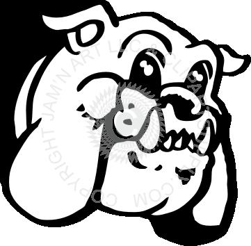 banner stock Clipart friendly head freeuse. Vector bulldog skull