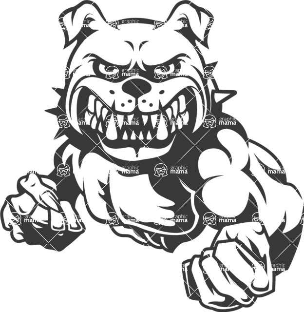 banner library stock  black and white. Vector bulldog strong