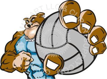 vector royalty free stock Vector bulldog volleyball. Holding